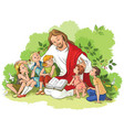 jesus reading the bible to children vector image