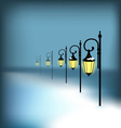 Lanterns stand in snow on blue vector image