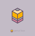 logo pencil box cube hexagon vector image vector image