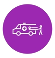 Man with patient and ambulance car line icon vector image