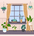 many potted decorative plants window with vector image vector image