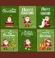 merry christmas santa claus in chimney at night vector image vector image