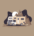 motor home on rest on night mountain background vector image vector image