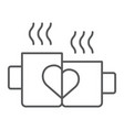 mugs with heart thin line icon drink and romance vector image vector image