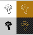 mushroom simple icon shiitake line style symbol vector image