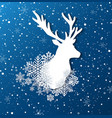 paper silhouette of deer and snowflakes vector image