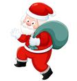 Santa Claus with gift bag vector image vector image
