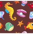 Sea creatures background vector image