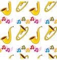 seamless pattern tile cartoon with sax trumpet vector image