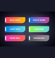 set modern colorful neon glowing buttons vector image