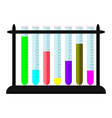 set of beaker with colored substances on stand vector image