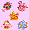 Set of five stickers for party vector image vector image