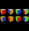 set rubik cube cube toy puzzle 3x3 square vector image vector image