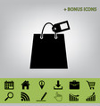 shopping bag sign with tag black icon at vector image vector image