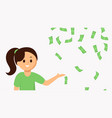 smiling young woman pointing falling money vector image vector image