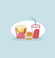 tasty hamburger french fries and soda fast food vector image