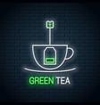 tea bag inside a cup neon sign green neon vector image