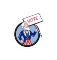 Uncle Sam Holding Placard Vote Circle Cartoon vector image vector image