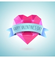 Valentines Day Greeting Card Diamond heart shape vector image