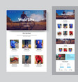 website template for a sport club or shop with vector image vector image