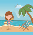 young girl on beach scene vector image