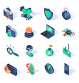 cyber security isometric flat icons vector image
