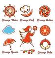 girl with an orange umbrella vector image
