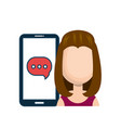 avatar girl smartphone bubble chat talk social vector image