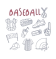 Baseball Related Object And Inventory Set vector image vector image