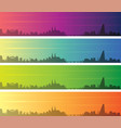 basel multiple color gradient skyline banner vector image vector image