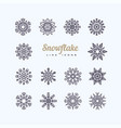 black snowflakes line icon on white background vector image vector image