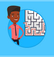 businessman looking at the labyrinth with solution vector image vector image