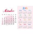 calendar 2018 november separately white-pink vector image vector image