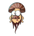 cartoon mushroom with beard vector image vector image