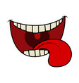 cartoon smile mouth lips with teeth and tongue vector image vector image