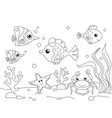 children coloring the underwater world the vector image vector image