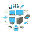 computer equipmen icons set cartoon style vector image