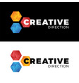 creative three hexagon honeycomb comet logo vector image vector image
