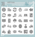 cryptoccurency glyph icon set bitcoin symbols vector image vector image