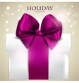 Elegant Christmas gift with bow and space for text vector image vector image