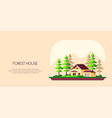 family cottage house in forest flat design vector image vector image
