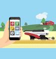 farmer controls autonomous harvester by phone vector image