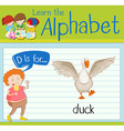 Flashcard letter D is for duck vector image vector image