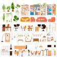 flat collection interior design vector image