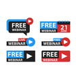 free webinar play online button set vector image