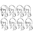 Girl face expressions sketches vector image vector image