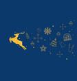 golden christmas reindeer with christmas elements vector image