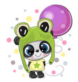 greeting card cute cartoon panda in a frog hat vector image vector image