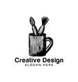 hand drawn mug and paint brush artist tool logo