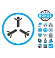 Hands Up Men Flat Icon with Bonus vector image